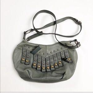 B Makowsky Gray Leather Studded Crossover Bag